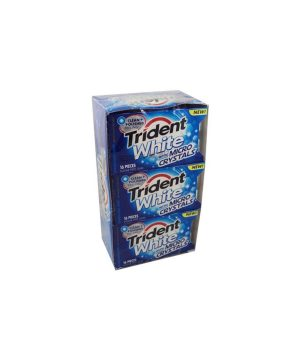 Trident White Gum, MICRO CRYSTALS, Sugar Free - 9/16 piece Packs [144 pieces]
