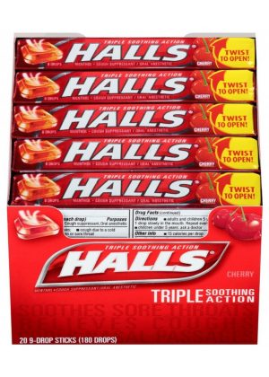 Halls CHERRY Cough Drops- 20ct - 9 Drops [180 Drops]
