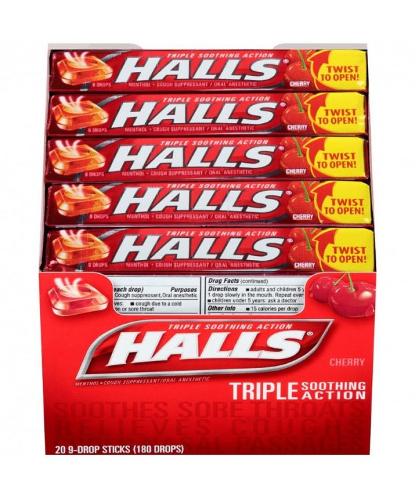 Halls CHERRY Cough Drops- 20ct – 9 Drops [180 Drops]