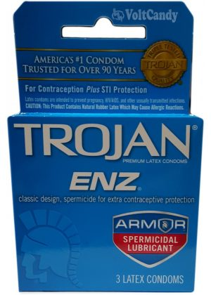 Trojan Condoms Blue ENZ Premium Latex Lubricant 3-pk
