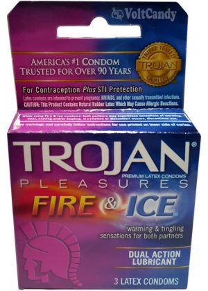 Trojan Condoms Fire & Ice Premium Latex Lubricant 3-pk