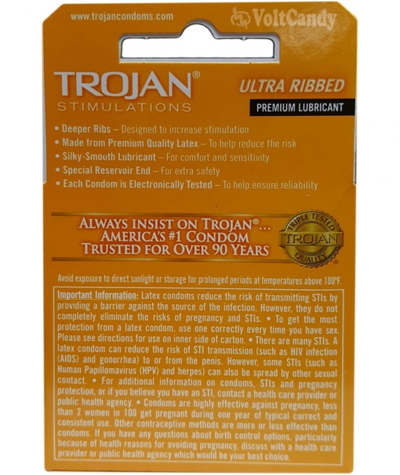Trojan Condoms Ultra Ribbed Lubricated 3-pk
